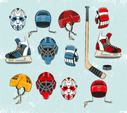 Hockey objects. Painted in a realistic style cartoon and brightly colored. Hockey equipment on the ice. Ice texture grouped separately and can be easily removed Royalty Free Stock Image