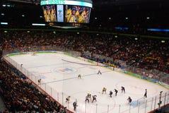 hockey olympic sweden USA vs kvinnor Arkivbild