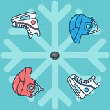 Hockey ornament with hockey helmet puck and sport skates in the style of flat vector graphics pattern stock illustration