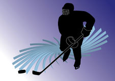Hockey player. Silhouette of a hockey player with stick and puck Stock Photos