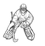 Hockey player. Black and white goal-keeper drawing, goal-keeper ready for a shot Stock Photo