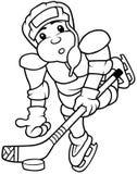 Hockey Player. Black and White Cartoon illustration, Vector Stock Photos