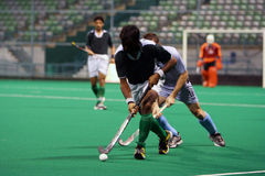 Hockey Player In Action. (motion blur effect Royalty Free Stock Image