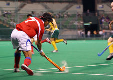 Hockey Player In Action. (motion blur effect Royalty Free Stock Images