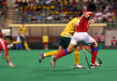Hockey Player In Action. (motion blur effect Stock Photos