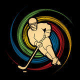 Hockey player action. Graphic vector Stock Images