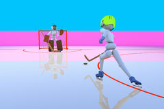 Hockey player attack gate Royalty Free Stock Photos
