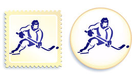 Hockey player on button and stamp Set Stock Photos