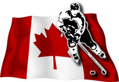 Hockey player on Canadian flag. Hockey-player on Canadian national flag in background stock illustration
