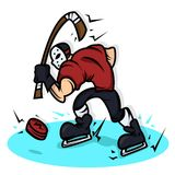 Hockey player cartoon with big muscle Stock Photography