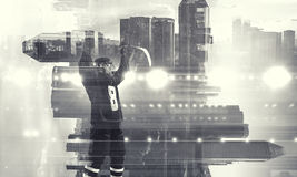 Hockey player celebrating victory. Mixed media stock images