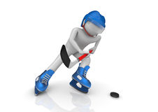 Hockey player cinematic close-up. 3d isolated characters on white background, sports series royalty free illustration