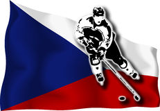 Hockey player on Czech flag. Hockey-player on Czech national flag in background vector illustration