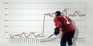 Hockey player and dynamics graph . Mixed media stock photo