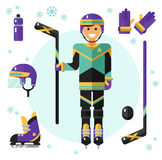 Hockey player with equipment Royalty Free Stock Photography
