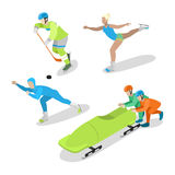 Hockey Player, Figure Skating and Bobsled. Winter Sports. Isometric flat illustration. Hockey Player, Figure Skating and Bobsled. Winter Sports. Isometric vector Royalty Free Stock Photography