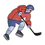 Hockey player in full gear with a stick playing hockey.Winter Olympic sport.Olympic sports single icon in cartoon style. Vector symbol stock web illustration Royalty Free Stock Images