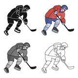 Hockey player in full gear with a stick playing hockey.Winter Olympic sport.Olympic sports single icon in cartoon style. Vector symbol stock web illustration Royalty Free Stock Image