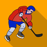 Hockey player in full gear with a stick playing hockey.Winter Olympic sport.Olympic sports single icon in flat style Stock Images
