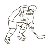 Hockey player in full gear with a stick playing hockey.Winter Olympic sport.Olympic sports single icon in outline style. Vector symbol stock web illustration Stock Images