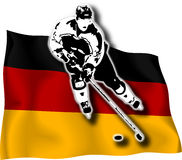 Hockey player on German flag. Hockey-player on German national flag in background stock illustration