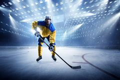 Ice hockey player on the grand ice arena. Hockey player on the grand ice arena stock photos