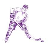 Hockey Player hand drawn vector llustration Stock Photo