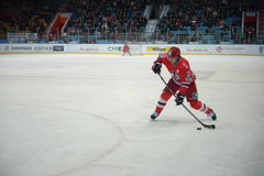 Hockey player of hockey club Avtomobilist Yekaterinburg Philip Metlyuk Stock Image