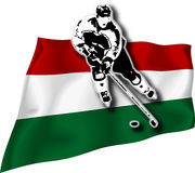 Hockey player on Hungary flag. Hockey-player on Hungary national flag in background Royalty Free Stock Photo