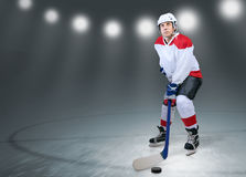 Hockey player on the ice Royalty Free Stock Photo