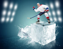 Hockey player on ice cube Stock Photography