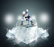 Hockey player with ice cubes Royalty Free Stock Image