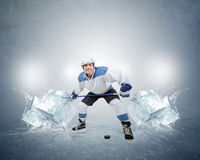 Hockey player with ice cubes Stock Photography