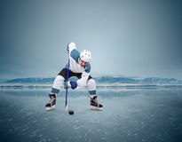 Hockey player on the ice lake surface Stock Photography