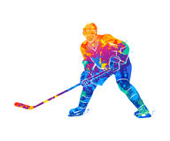 Hockey player illustration. Abstract hockey player from a splash of watercolors. Vector illustration of paints Royalty Free Stock Photos
