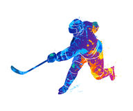 Hockey player illustration. Abstract hockey player from a splash of watercolors. Vector illustration of paints Stock Images