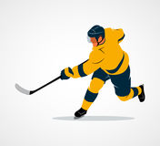 Hockey player illustration. Abstract hockey player on a white background. Photo illustration Stock Photo
