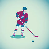 Hockey player. Isolated cartoon character. Flat style. Colored cartoon illustration with a hockey player. Isolated sports character Royalty Free Stock Photography