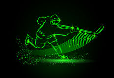 Hockey player, Neon sport background. Hockey player, sport background. Vector neon illustration royalty free illustration