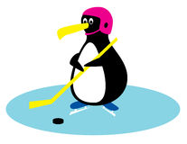 Hockey player penguin Royalty Free Stock Images