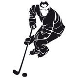 Hockey player, silhouette Royalty Free Stock Image