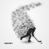 Hockey player of a silhouette from particle. Background and text on a separate layer. color can be changed in one click Stock Photography