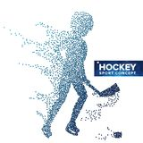 Hockey Player Silhouette Vector. Grunge Halftone Dots. Dynamic Ice Hockey Athlete In Action. Sport Banner, Game. Competitions, Event Concept. Illustration Stock Photo