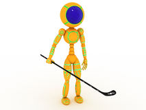 Hockey player with a stick #1 Stock Image