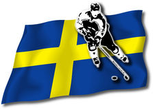 Hockey player on Swedish flag. Hockey-player on Swedish national flag in background stock illustration