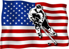 Hockey player on USA flag. Hockey-player on USA national flag in background stock illustration