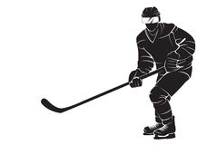 Hockey player. Vector silhouette, isolated on white Stock Image