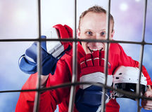 Hockey player victory triumph Stock Images