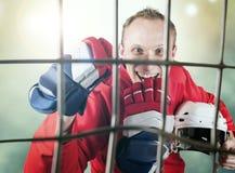 Hockey player victory triumph Stock Photos
