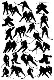 Hockey players. Black silhouettes players - Hockey Team Royalty Free Stock Photo